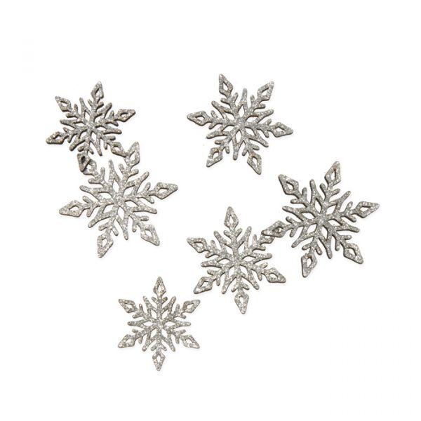 """Holz-Streusortiment """"Glitter-Eiskristalle"""" silver glitter Hauptbild Listing"""