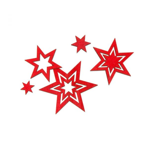 """Holz-Streusortiment """"Sterne"""" red Hauptbild Listing"""