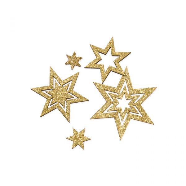 "Holz-Streusortiment ""Glittersterne"" gold glitter Hauptbild Listing"