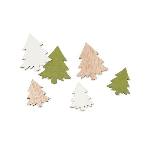 """Holz-Streudeko """"Tannen"""" white/green/natural Hauptbild Listing"""