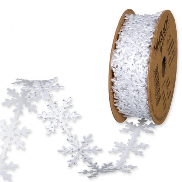 """Satin-Stanzband """"Eiskristalle"""" white/silver glitter Hauptbild Listing"""