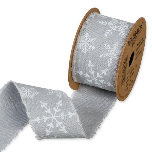 """Bedrucktes Baumwollband """"Eiskristalle"""" grey/white Hauptbild Listing"""