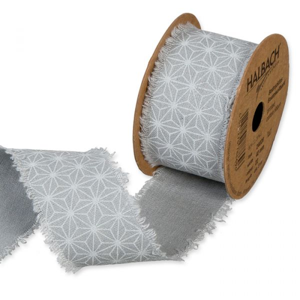 "Bedrucktes Baumwollband ""Stern-Muster"" grey/white Hauptbild Listing"