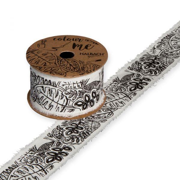 DIY Baumwollband off-white/black - leaves Hauptbild Listing