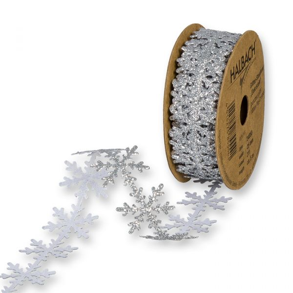 """Glitter-Stanzband """"Eiskristalle"""" silver/glitter Hauptbild Listing"""