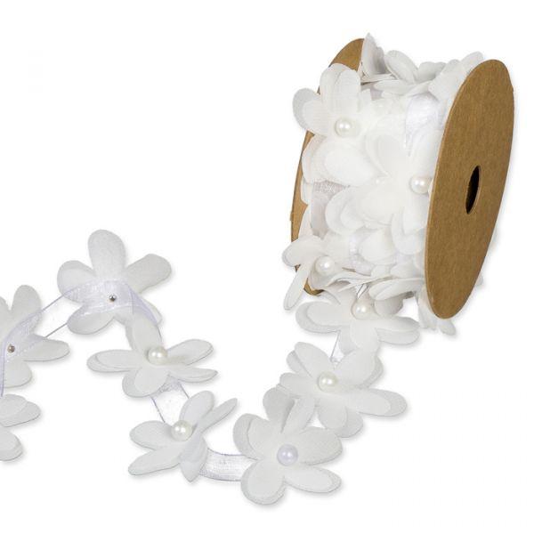 Organzaband mit Blüten und Perlmutt-Perlen white Hauptbild Listing