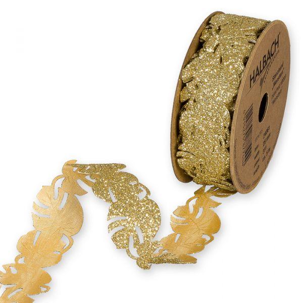 """Glitter-Stanzband """"Monstera"""" gold glitter Hauptbild Listing"""