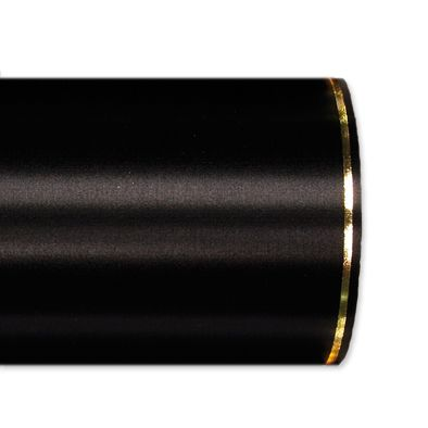 Schnittsatin / farbig mit Randstreifen in hochglänzendem Gold black Hauptbild Detail