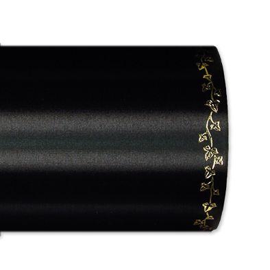 """Schnittsatin / farbig mit Randmotiv """"Efeu"""" in hochglänzendem Gold black Hauptbild Detail"""