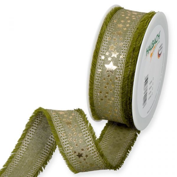 "Leinen-Druckband ""Sterne"" olive green/linen/gold Hauptbild Listing"
