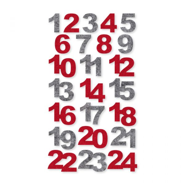 "Filz-Zahlen ""Adventskalender 1-24"" selbstklebend red/grey Hauptbild Detail"