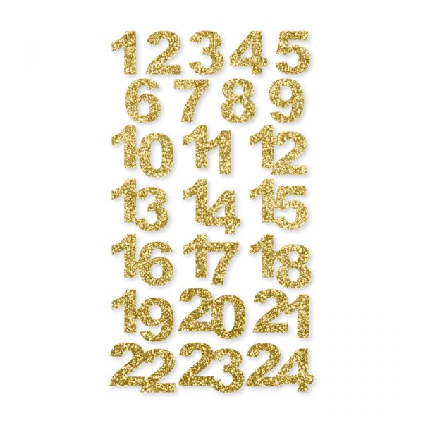 "Glitter-Zahlen ""Adventskalender 1-24"" selbstklebend gold Hauptbild Detail"