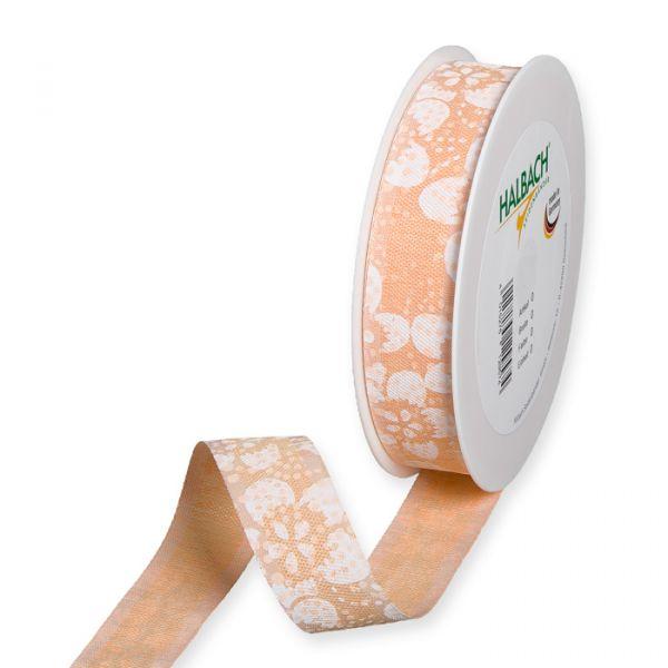"""Druckband """"Blüten-Muster"""" apricot/white Hauptbild Listing"""