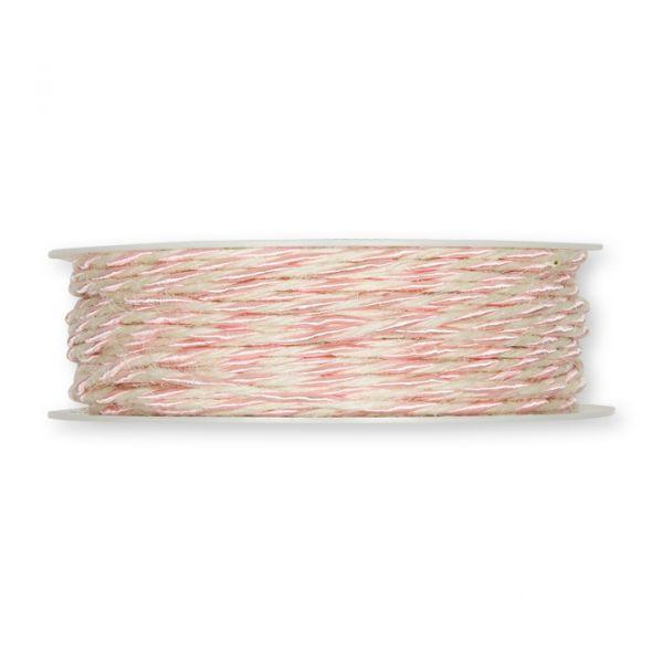 Jute-/Acetat-Kordel mit formbarer Drahtseele light rose/cream Hauptbild Detail