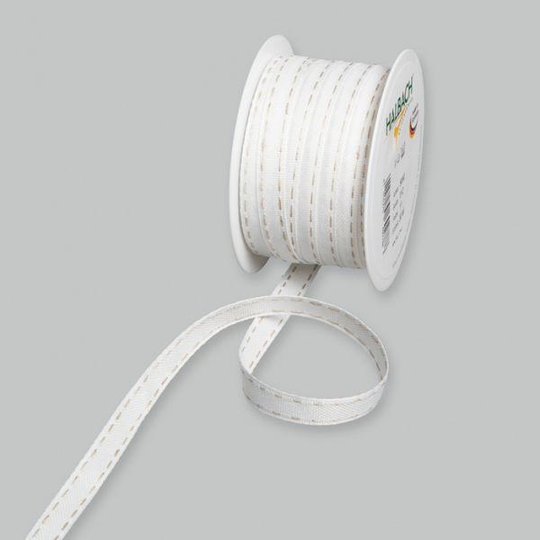 Dekorationsbandmit Leinen-Steppstreifen white/linen Hauptbild Listing