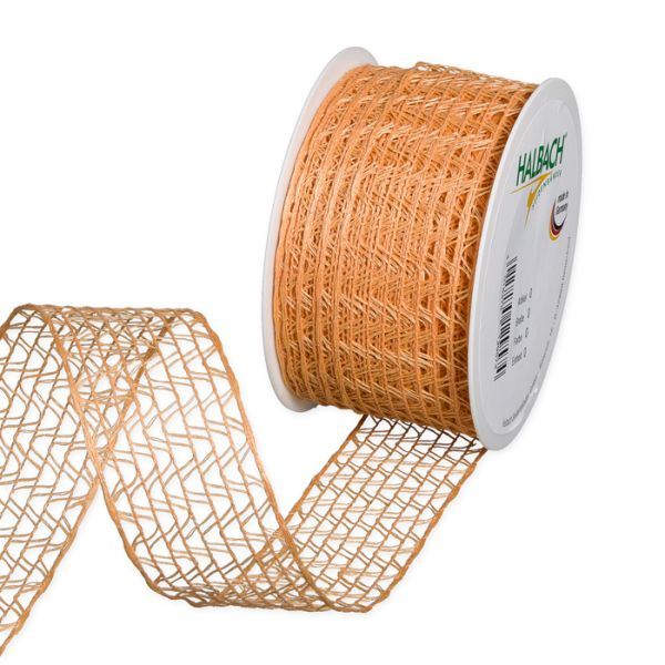 Leinen-Stretch-Gitterband apricot Hauptbild Listing