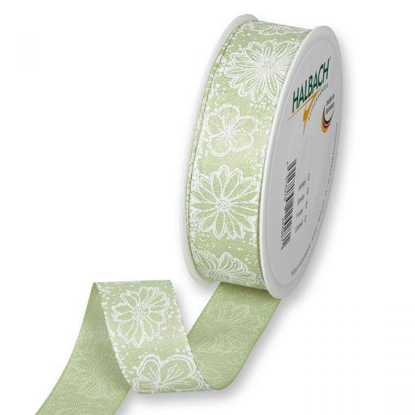 "Druckband ""Blumen"" pale green/white Hauptbild Listing"