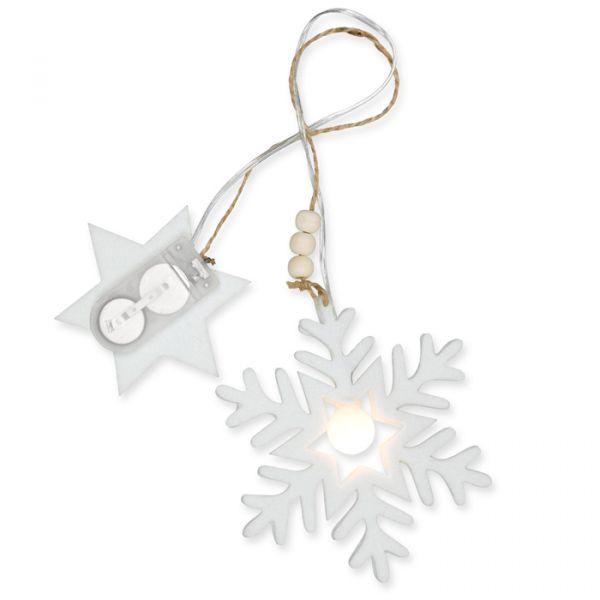 """LED-Hänger """"Eiskristall"""" mit Holzperlen und Jutekordel white Hauptbild Detail"""