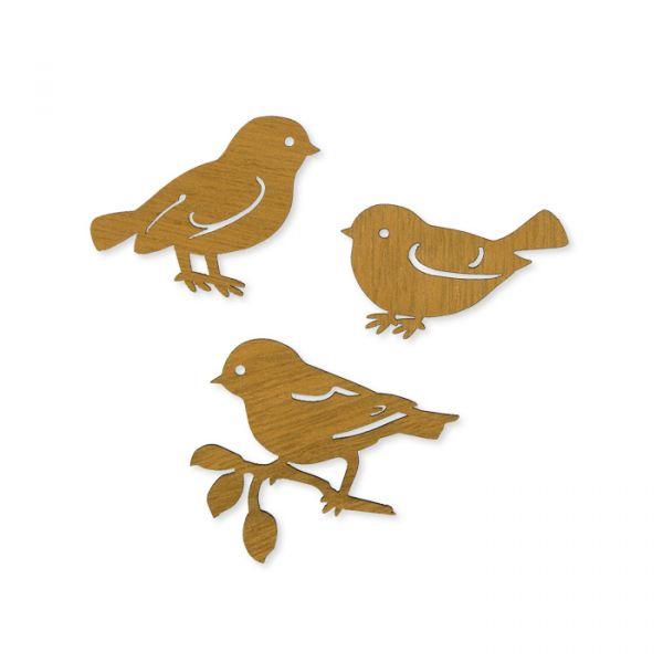 """Holz-Sortiment """"Vögel"""" 3 Formen im Set natural Hauptbild Detail"""