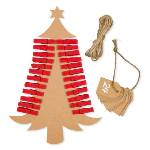 """Papier-Anhänger """"Adventskalender 1-24"""" mit 24 Holzklammern und 24 Zahlen-Kärtchen im Set und ca. 2 m red/natural Hauptbild Detail"""