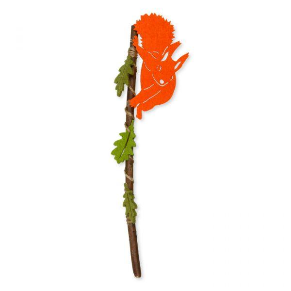 Holzstecker mit Filz-Eichhörnchen und Filz-Blättern orange Hauptbild Detail