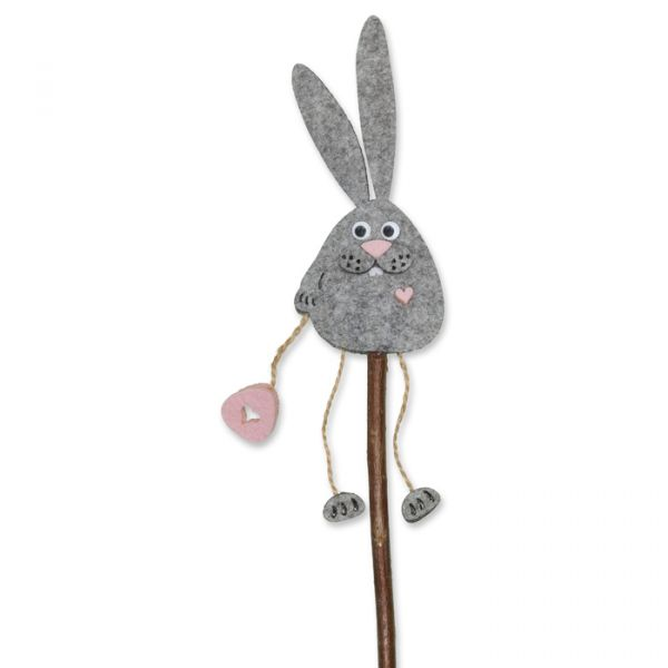 "Naturholz-Stecker ""Osterhase"" light grey/light rose Hauptbild Detail"