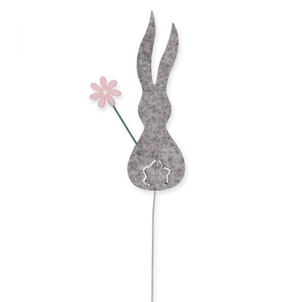 "Drahtstecker ""Hase mit Blume"" light grey Hauptbild Detail"