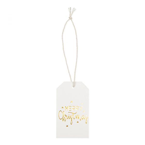 "Papier-Anhänger ""Merry Christmas"" white/gold Hauptbild Detail"