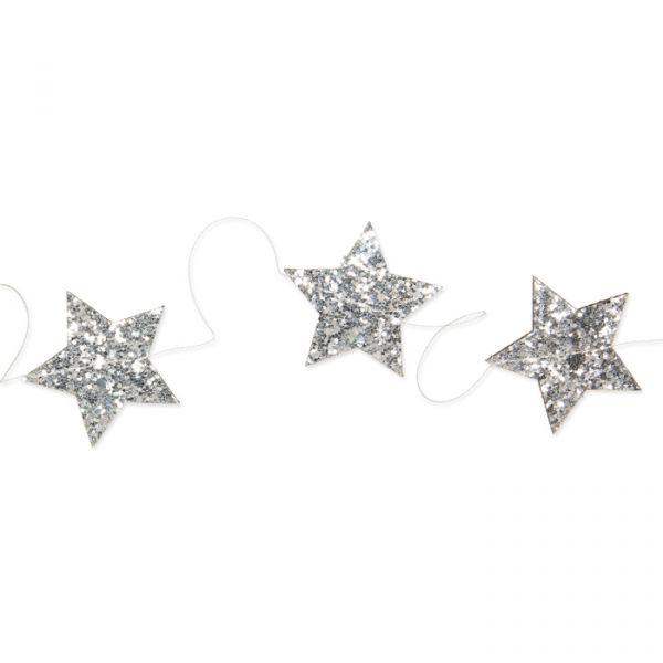 "Glitter-Girlande ""Sterne"" silver Hauptbild Detail"