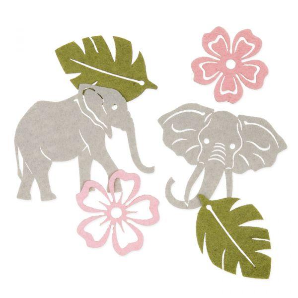 """Filzsortiment """"Elefant"""" grey/olive green/light rose/ dusky pink Hauptbild Listing"""