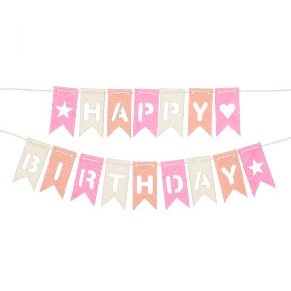 "DIY Set Wimpel-Girlande ""HAPPY BIRTHDAY"" rose/apricot/cream Hauptbild Listing"