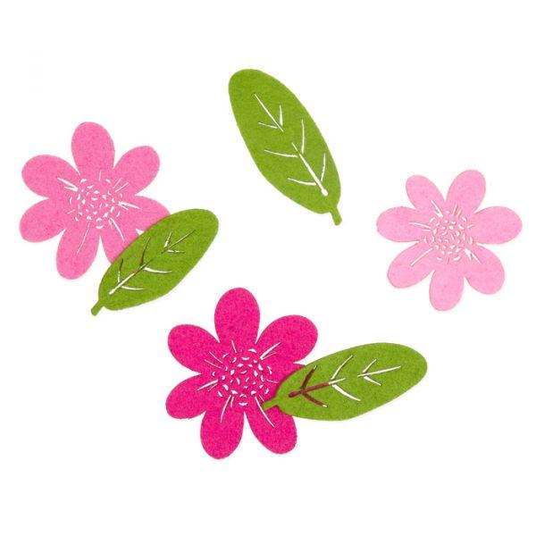 "Filzsortiment ""Blumen/Blätter"" rose/orchid/purple/grass green Hauptbild Listing"