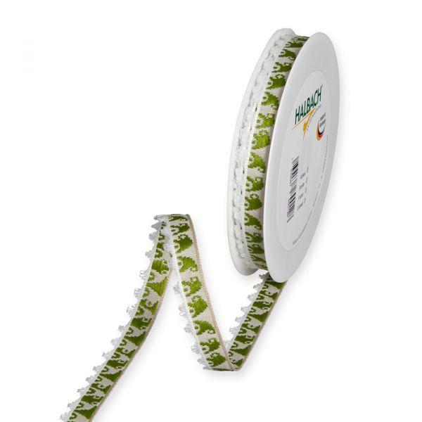 "Dekorationsband ""Wichtel"" moss green/sand/white Hauptbild Listing"