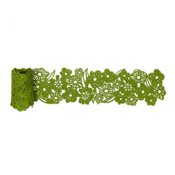 """Filzband / Tischdeko """"Blüten"""" grass green Hauptbild Detail"""