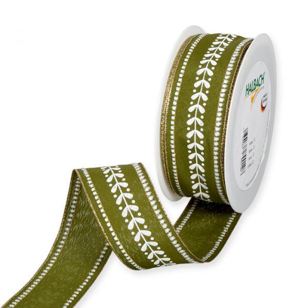 "Druckband ""Mistelzweig"" olive green/white/gold Hauptbild Listing"