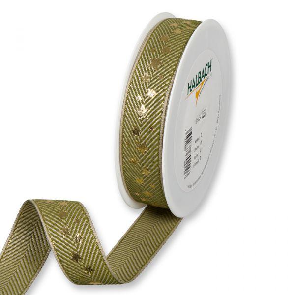 "Druckband ""Sterne"" olive green/linen/gold Hauptbild Listing"