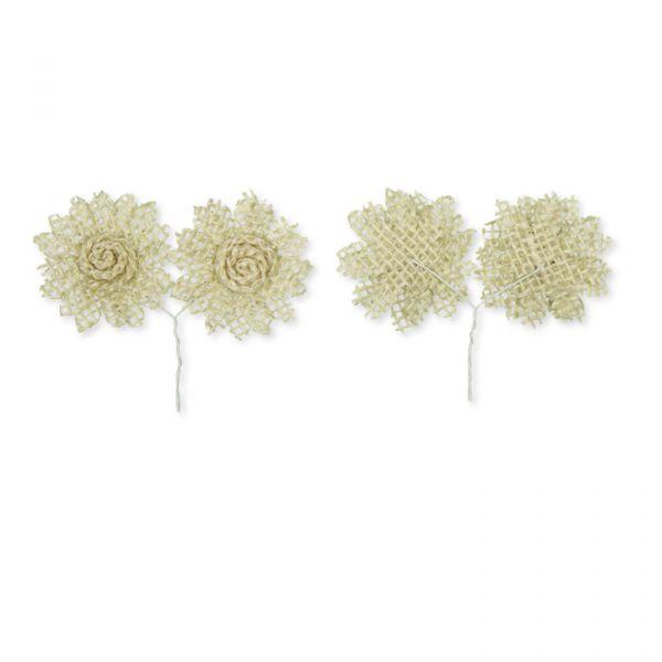 Jute-Blüten mit Befestigungs-Draht auf der Rückseite cream Hauptbild Detail