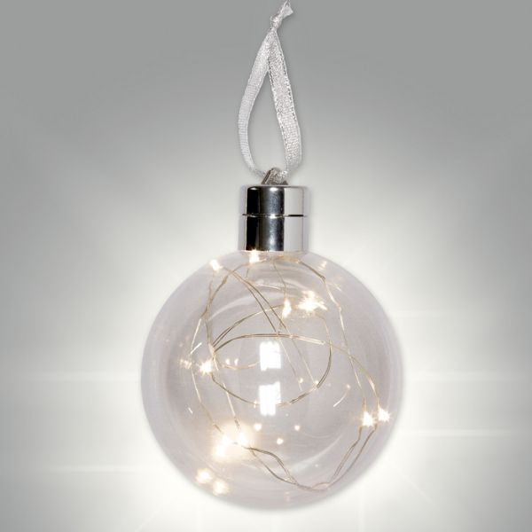 Befüllbare LED-Kunststoffkugel silver Hauptbild Detail