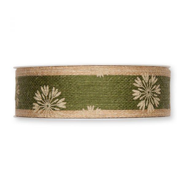 "Jute-Druckband ""Herbstblüte"" drahtverstärkt reed green/natural Hauptbild Detail"