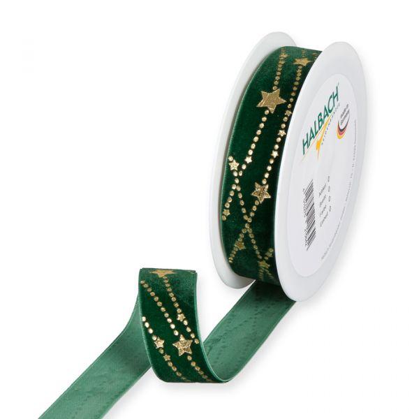 "Samt-Druckband ""Sterne"" fir green/gold Hauptbild Listing"