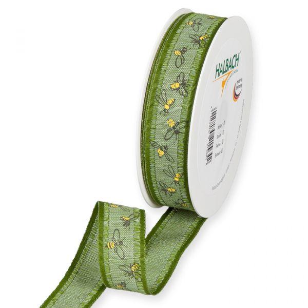 "Druckband ""Bienen"" moss green/yellow/black Hauptbild Listing"
