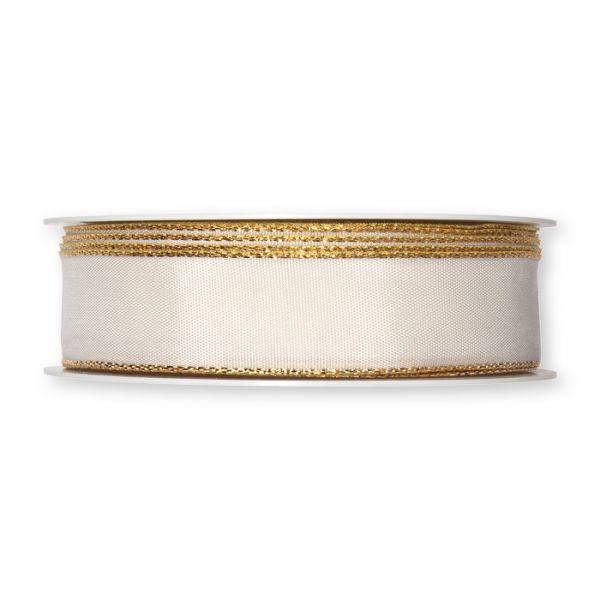 Taftband mit Lurexkanten cream/gold Hauptbild Detail