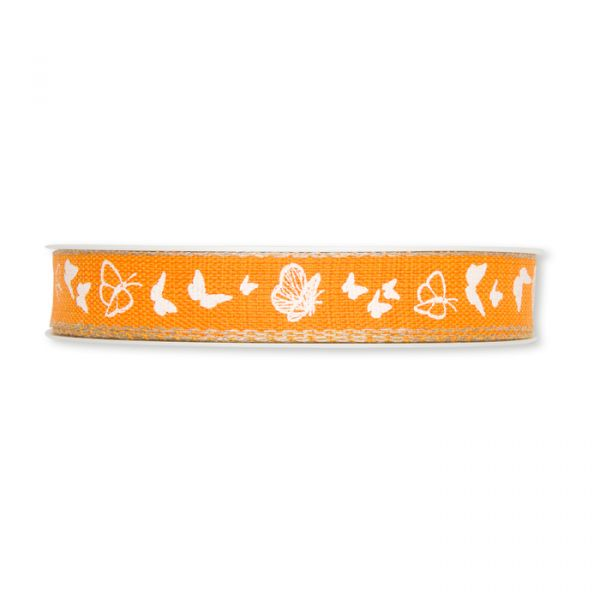 "Druckband ""Schmetterlinge"" orange/white/linen Hauptbild Detail"