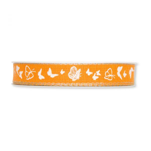 "Druckband ""Schmetterlinge"" orange/white/linen Hauptbild Detail"