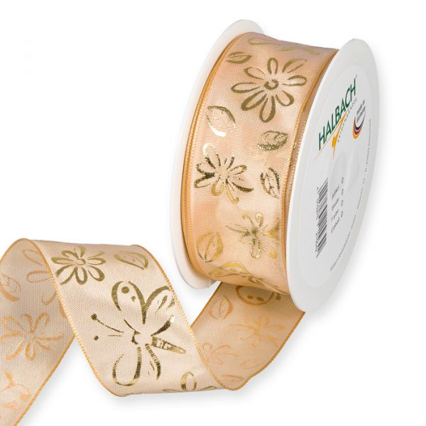 "Druckband ""Blüten/Schmetterlinge"" light apricot/gold Hauptbild Listing"